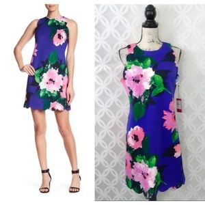 Vince Camuto Scalloped Floral Shift Dress NWT